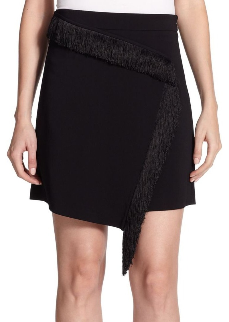 A.L.C. Fringe-Trim Silk Wrap Skirt