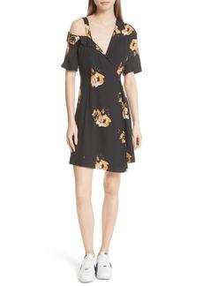 A.L.C. Lucia Floral Print Silk Cold Shoulder Dress