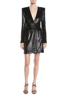 A.L.C. Mara Sequined Strong-Shoulder Short Dress