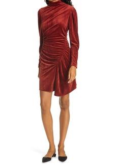 A.L.C. Marcel Long Sleeve Ruched Velvet Minidress