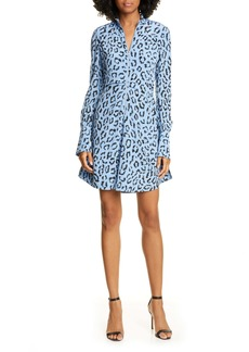 A.L.C. Marcella Leopard Print Long Sleeve Silk Minidress