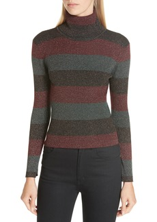 A.L.C. Mariel Metallic Stripe Turtleneck Sweater