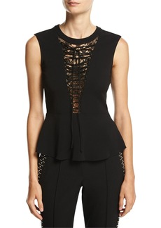 A.L.C. Marin Sleeveless Lace-Trim Peplum Top
