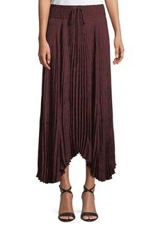 A.L.C. Maya Pleated Snake-Print Maxi Skirt