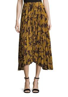 A.L.C. Maya Printed Pleated A-Line Midi Skirt