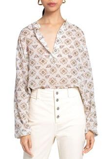 A.L.C. Meghan Printed Mandarin Collar Top