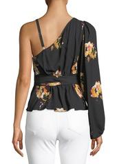 A.L.C. Mickalene One-Shoulder Floral Silk Wrap Top