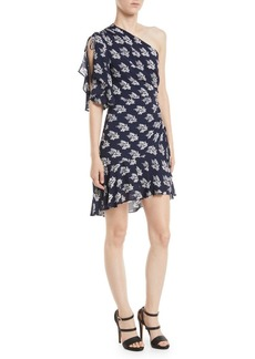 A.L.C. Misha One-Shoulder Ruched Floral-Print Silk Dress