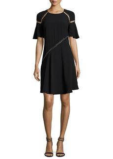 A.L.C. Mitchell Round-Neck Short-Sleeve Dress w/ Ring Trim