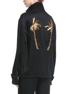 A.L.C. Monica Zip-Front Jacket with Sequined Palm Trees