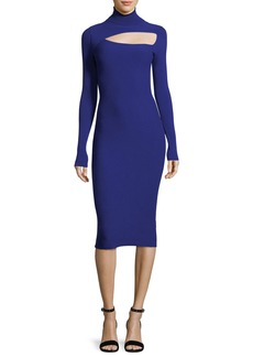 A.L.C. Montero Turtleneck Cutout Long-Sleeve Fitted Midi Dress