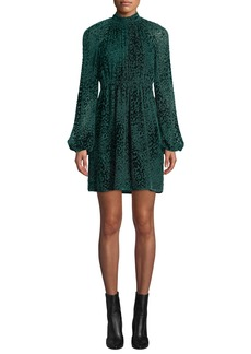 A.L.C. Nadia Animal-Print Velvet Burnout Dress