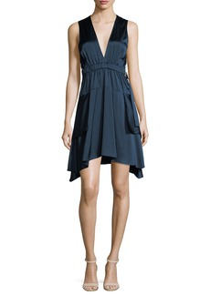 A.L.C. Nahia Deep-V Cutout-Waist Sleeveless Satin Dress