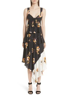 A.L.C. Natalia Floral Print Silk Asymmetrical Midi Dress