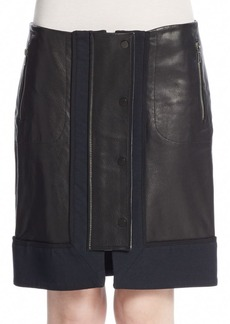 A.L.C. Nestler Leather-Paneled Skirt