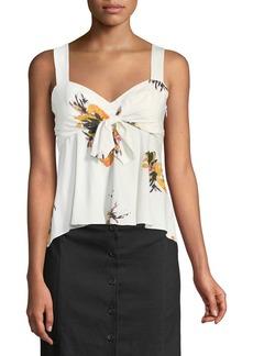 A.L.C. Nova Floral Silk Tie-Front Top