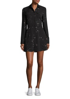A.L.C. Pedro Long-Sleeve Silk Star Shirtdress