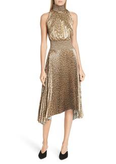 A.L.C. Renzo Leopard Print Metallic Foil Dress
