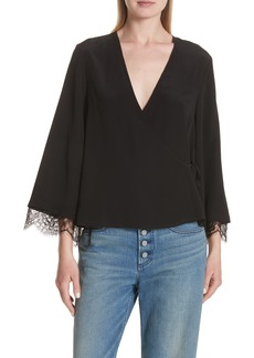 A.L.C. Riona Lace Trim Silk Wrap Blouse