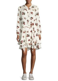 A.L.C. Rori Long-Sleeve Drop-Waist Floral-Print Silk Dress