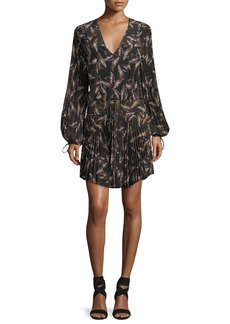A.L.C. Rory V-Neck Long-Sleeve Silk Printed Dress