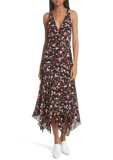 A.L.C. Roslyn Print Handkerchief Hem Silk Wrap Dress