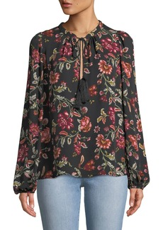 A.L.C. Royan Tie-Neck Long-Sleeve Floral-Print Silk Top