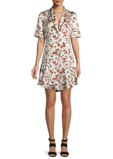 A.L.C. Ruthie Floral Stretch-Silk Button-Front Dress