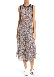 A.L.C. Sandra Cutout Silk Midi Dress