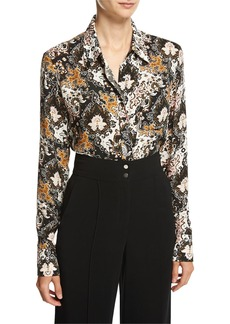 A.L.C. Scott Long-Sleeve Abstract Silk Blouse