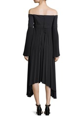 A.L.C. Serena Off-the-Shoulder Long-Sleeve Pleated Midi Dress
