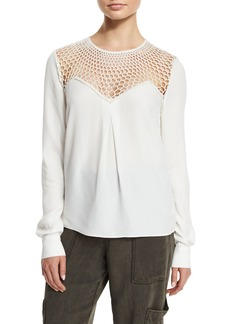 A.L.C. Sian Long-Sleeve Crepe Top