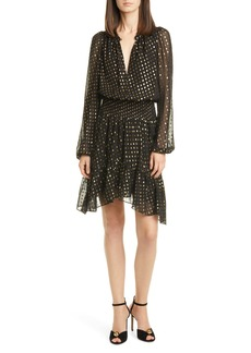 A.L.C. Sidney Metallic Dot Long Sleeve Silk Dress