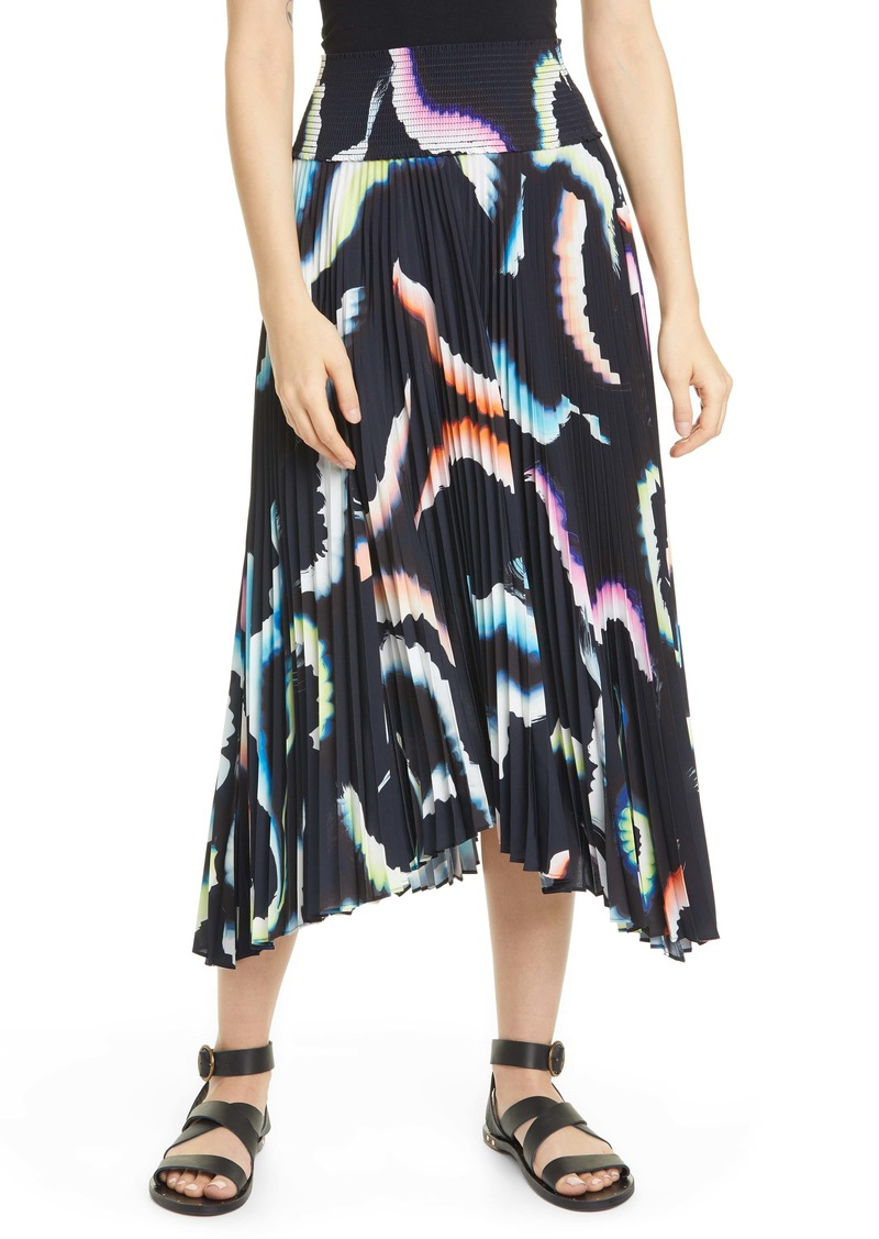 A.L.C. Sonali Asymmetrical Pleated Midi Skirt