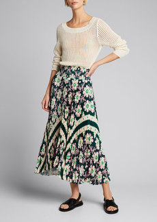 A.L.C. Sonali Pleated Floral Midi Skirt