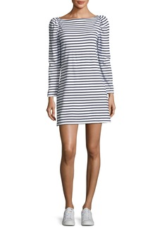 A.L.C. Stevens Boat-Neck Long-Sleeve Striped A-Line Dress