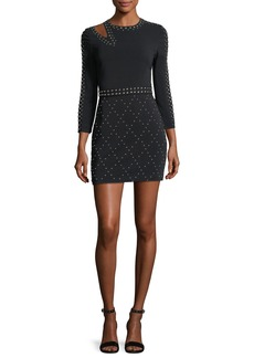 A.L.C. Taraji Long-Sleeve Studded Fitted Mini Dress