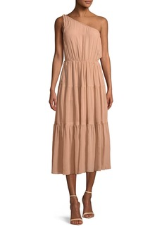 A.L.C. Tenley One-Shoulder Tiered Silk Midi Dress