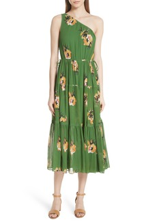 A.L.C. Tenley Print Silk One Shoulder Dress