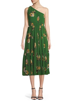 A.L.C. Tenley Silk Floral One-Shoulder Midi Dress