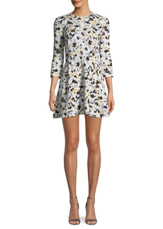 A.L.C. Terry 3/4-Sleeve Abstract-Print Silk A-Line Dress