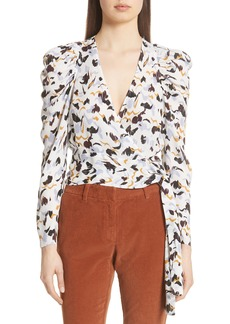 A.L.C. Tessa Print Silk Wrap Top