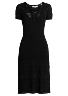 A.L.C. Trevi V-neck eyelet-knit dress