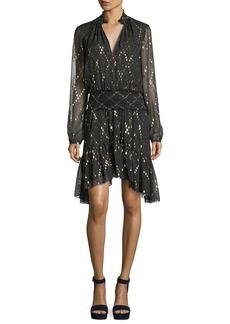 A.L.C. Tula Split-Neck Long-Sleeve Silk Metallic Dress