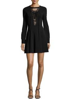 A.L.C. Wares Long-Sleeve Ponte Lace-Trim Dress