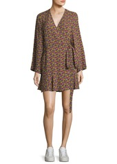 A.L.C. Whitney Bell-Sleeve Floral-Print Silk Wrap Dress