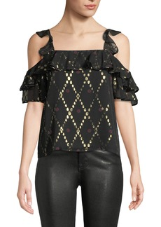 A.L.C. Willow Metallic Ruffle Cold-Shoulder Top