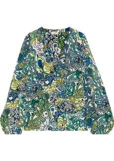 A.l.c. Woman Adara Printed Silk-crepe Blouse Teal
