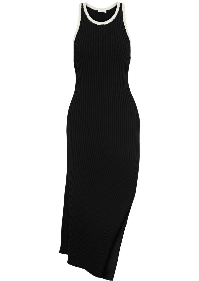 A.l.c. Woman Annina Asymmetric Crochet-trimmed Ribbed-knit Dress Black
