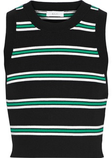 A.l.c. Woman Archer Cropped Striped Ribbed-knit Top Black